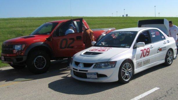 Mitsubishi EVO and Ford F-150 Raptor